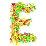 The letter E is made up of children&#39;s blocks