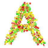 The letter A is made up of children's blocks