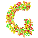 The letter G is made up of children's blocks
