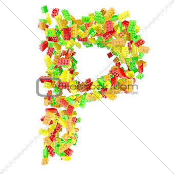 The letter P is made up of children's blocks