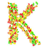 The letter K is made up of children&#39;s blocks