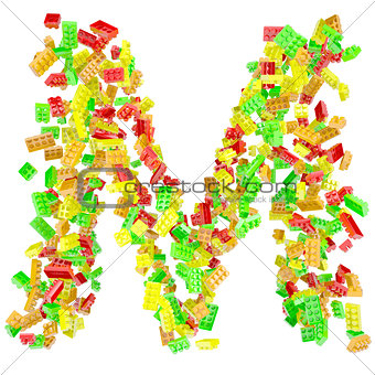 The letter M is made up of children's blocks