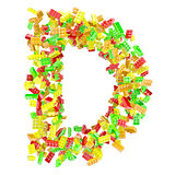 The letter D is made up of children&#39;s blocks