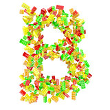 The letter B is made up of children's blocks