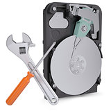 Screwdriver, wrench and disclosed hard drive
