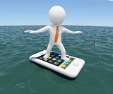 3d man floating on smartphone in the sea