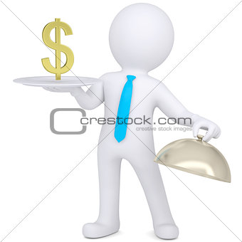 3d man holding plate with gold euro sign