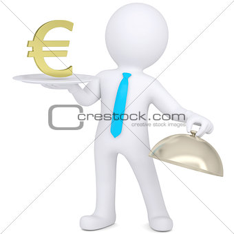 3d man holding plate with gold dollar sign