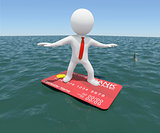 3d man floating on credit card in the sea