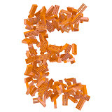The letter E is made up of bricks