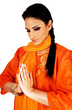 Indian girl praying.
