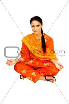 Sitting indian girl.
