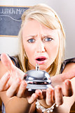 Sad Woman Holding Bell Of Bud Customer Service