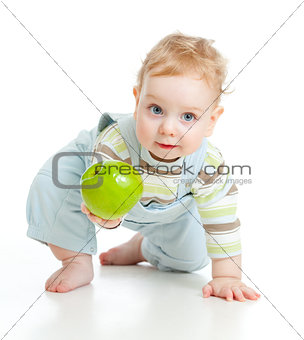 Baby boy eating healthy food isolated