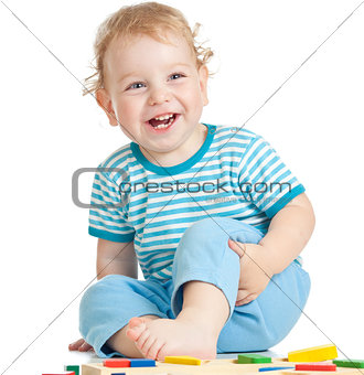 happy child playing isolated on white