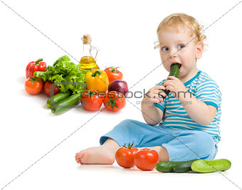 child eating healthy food studio shot
