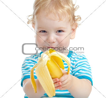 happy pretty child eating banana. healthy food eating concept.