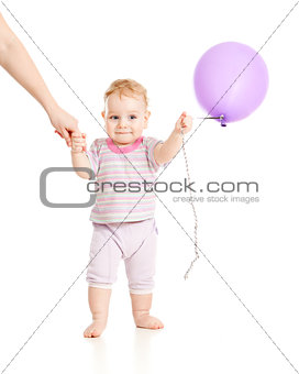 baby walking with balloon closeup portrait on white