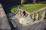 gorgeous bride walking away