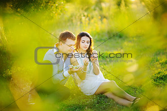 Romantic young couple having a great time