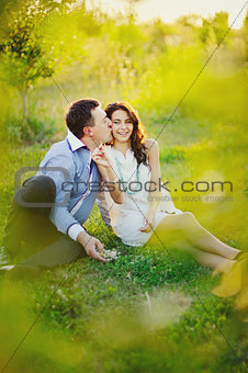 young couple having a great time outside