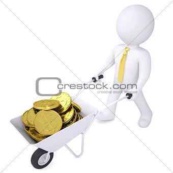3d white man carries a wheelbarrow of gold coins