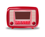 Old red radio on white background