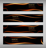 Set of abstract black web banner