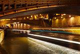 bridge and Seine river at night, Paris
