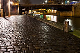 quay in Paris at night