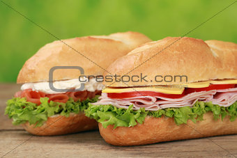 Sub Sandwiches with ham and salmon