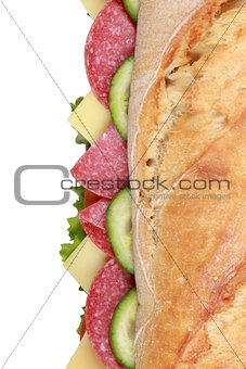 Top view of a sub sandwich with salami