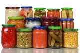 Vegetables in glass jars
