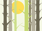 Tree and sun background illustration