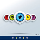 Set of modern social networking icons.