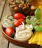 Various types of pasta (spaghetti, fettuccini, penne) and tomato