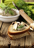 champignon mushroom pate with rye bread and dill