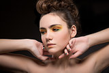 Pretty Young Woman with Bright Colorful Makeup. Sensuality & Elegance