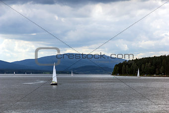 Sailing yachts on Lipno lake, Czech Republic.