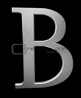 Letter B in brushed steel