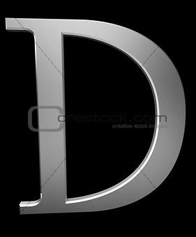 Letter D in brushed steel
