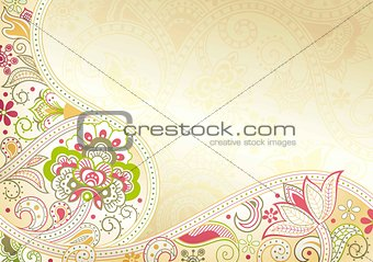 Abstract Floral Curve Background