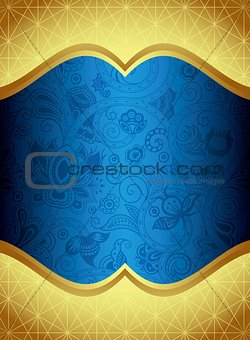 Abstract Gold and Blue Floral Frame