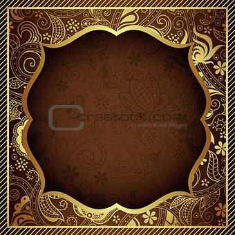 Abstract Gold and Chocolate Floral