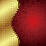 Abstract Gold and Red Floral Curve