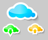 Cloud, download and upload from cloud stickers
