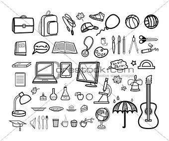 Modern school icon set