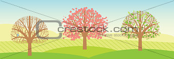 Spring trees with leaves and blossoms. Vector illustration