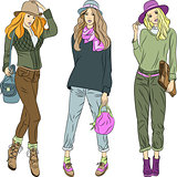 Vector beautiful fashion girls top models in hats and pants