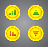 Financial graph set on glossy icons